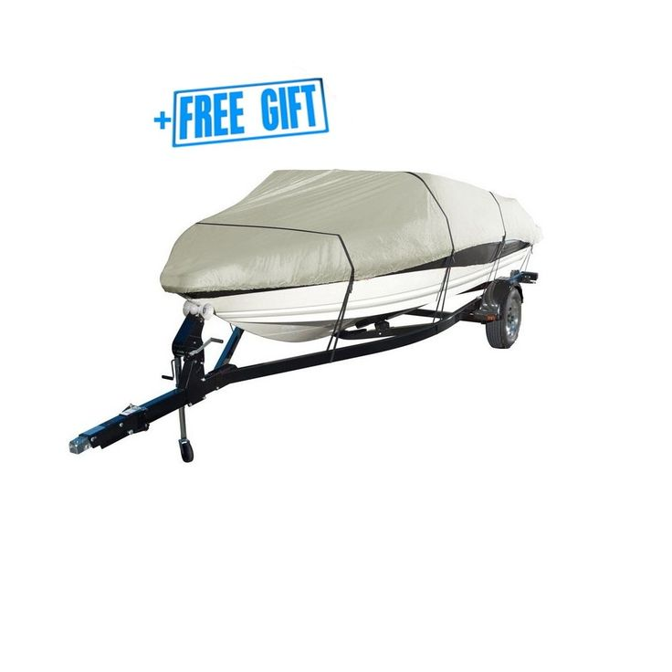 CoversMarket Boat Cover Heavy Duty 600D Marine Grade Polyester Canvas Trailerable Waterproof, Color Grey, Fits V-Hull, Runabout Boat Cover, Full Size Boat Cover (17-19, Gray)