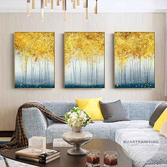 Framed Wall Art Set Of 3 Prints Modern Abstract Yellow Tree