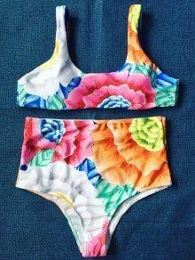 68a1c3bf07 Marble Print High Waisted Bandeau Bikini Set