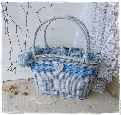 """Корзины, коробы ручной работы. Ярмарка Мастеров - ручная работа. Купить """" Зимнее утро"""" Корзинка-сумочка плетеная. Handmade."""