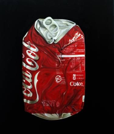 "Saatchi Art Artist Gennaro Santaniello; Painting, ""Coca Cola can crushed"" #art"