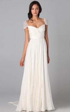 2014 A-Line Vintage Long Wedding Dress Fabric: Chiffon  Silhouette: A-Line  Neckline: Sweetheart  Hemline: Sweep Train  Sleeve Length: Short Sleeves  Embellishment: Generous Style|Ruched|Lace|Sweep Train  Closure: Zipper  Built In Bra: Yes  Fully Lined: Yes  Tailor Made: Yes