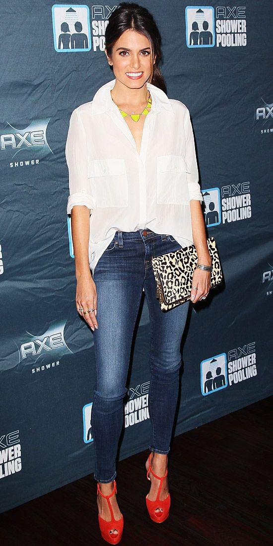 Look of the Day: October 7, 2012 - Nikki Reed : InStyle.com - neon accessories