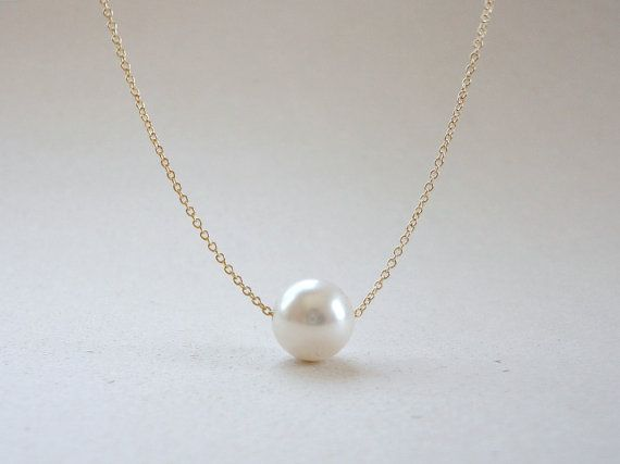 Floating pearl necklace in white Wedding jewelry by KeyYoung, $16.00