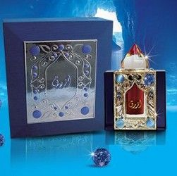 AZRAQ-ARABIC PERFUME  This is an oil based arabic perfume which notes are woody, ambery, rosy,and with a freshness of grass combined with the twist of Oudh Indonesi and Oudh el Hindi.