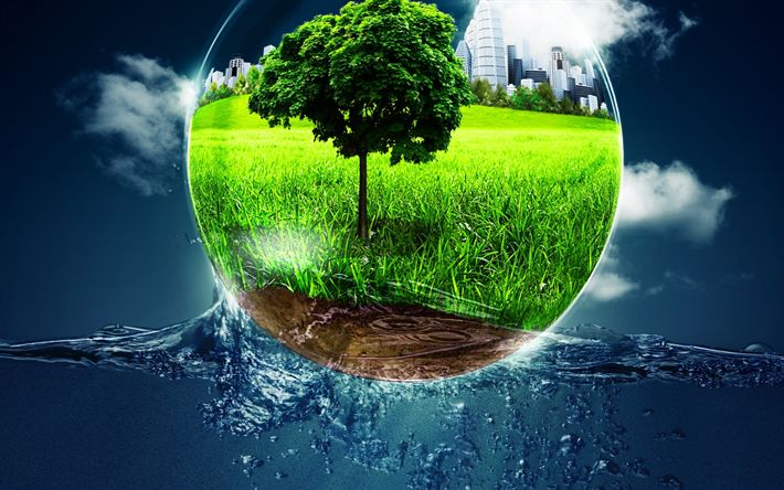 Download wallpapers Ecology, environment, water, Earth, environmental concepts, Eco