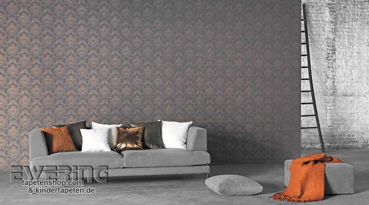 Tapete Casadeco Midnight : Midnight 05 – Ornament-Tapeten in modernen Farben wirken sehr elegant
