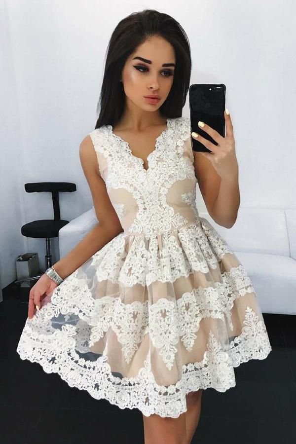 a9c740d50df White Homecoming Dress, Homecoming Dress Lace, V-Neck Homecoming Dress, Lace  White Homecoming Dress, Sleeveless Homecoming Dress #Lace #White #Homecoming  ...