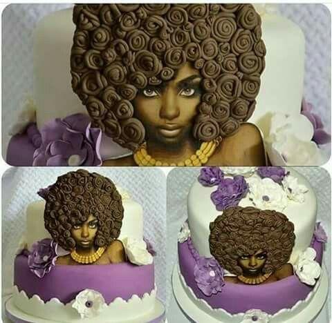 Afro woman cake