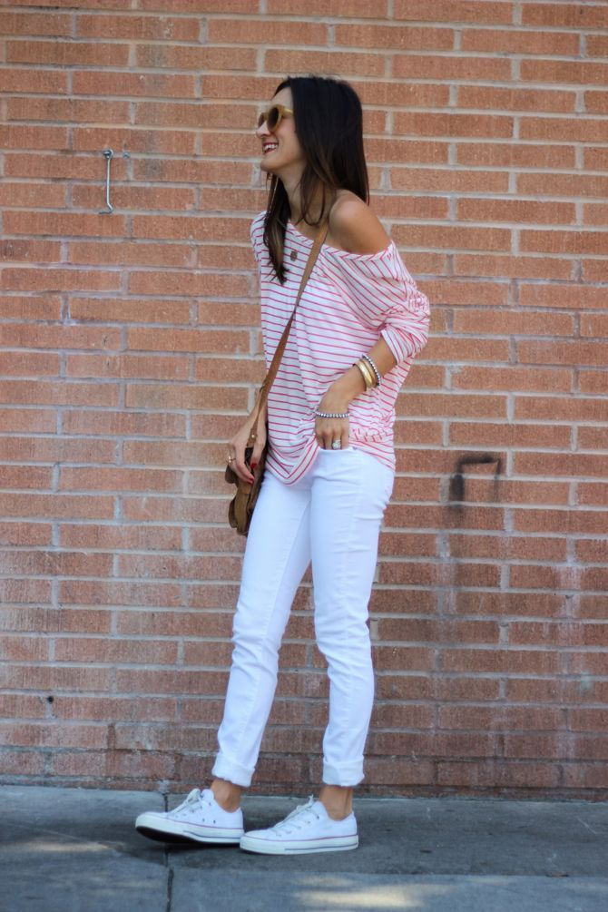 Red & white striped shirt, white jeans, and white Converse.