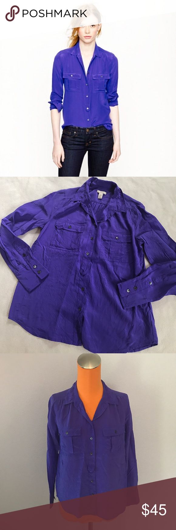 """J Crew Purple Blythe Silk Crepe Blouse 24.5"""" length 19.5"""" armpit to armpit. Is a purple color. 100% silk.  Crepe like material. Has chest pockets. Blythe silk blouse. Just needs a good steam. Excellent condition. Bundle 2+ items for a discount. J. Crew Tops Blouses"""