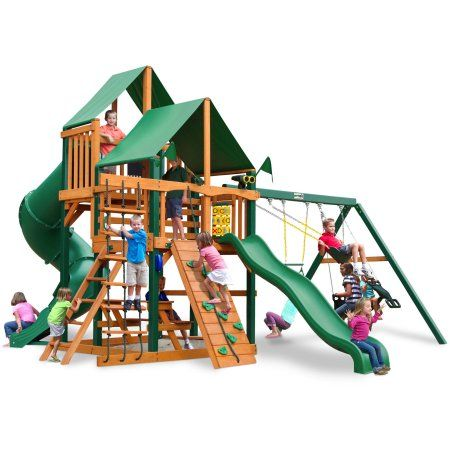 Gorilla Playsets Chateau II Deluxe Wooden Swing Set