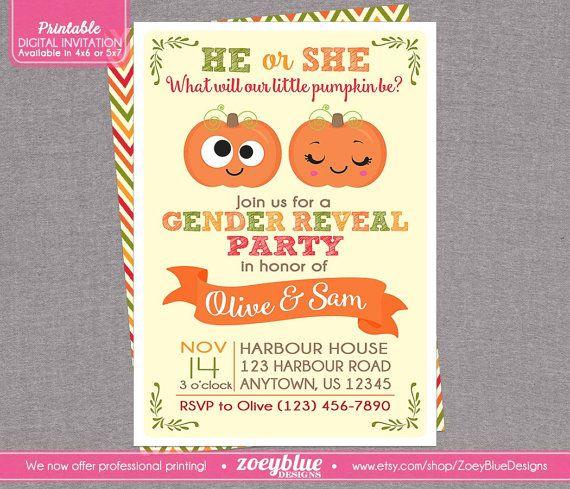 Pumpkin Gender Reveal Invitation - Little Pumpkin Baby Shower Girl or Boy Twin Autumn Theme -