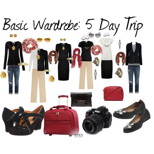 """""""Basic Wardrobe: 5 Day Trip"""" by susanmcu on Polyvore.  I would use this as inspiration for a capsule wardrobe."""