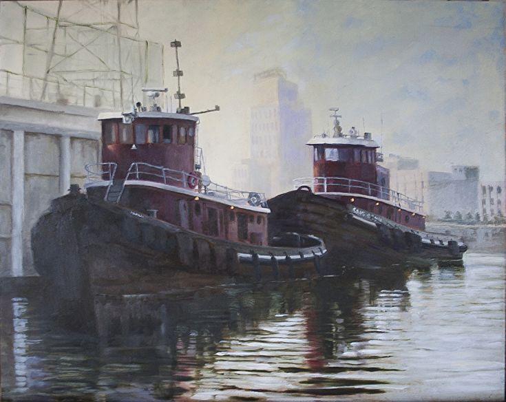 Tugs in Fells Point Baltimore by Ken Clark Oil ~ 16 x 20