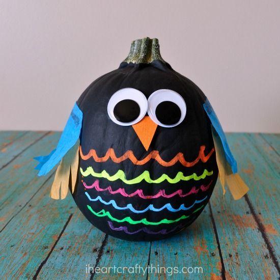 colorful nocarve owl pumpkins