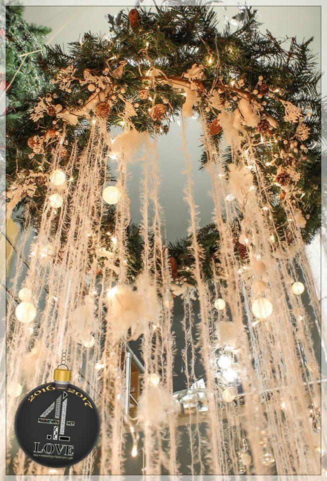 Χριστούγεννα 2016-2017 - #Χριστουγεννιάτικη_διακόσμηση #οροφής #επαγγελματικού_χώρου με #κλαδιά #τεχνιτού #έλατου, #κουκουνάρια, #φωτάκια κ.α. #4LOVEgr -Concept Stylist Μάνθα Μάντζιου & Floral Artist Ντίνος Μαβίδης