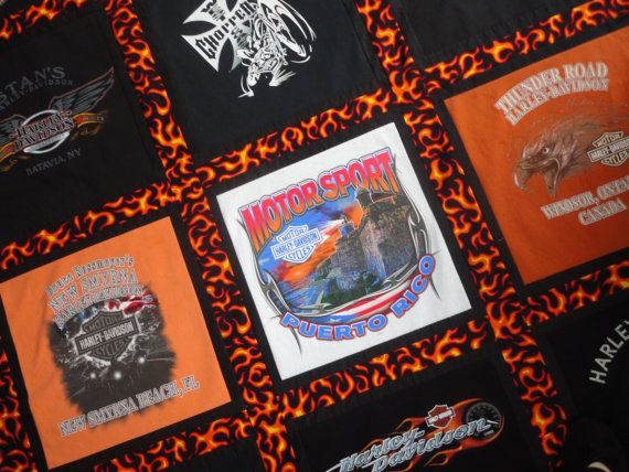 54x82 Harley Davidson T-Shirt Throw Quilt. by ConniesKeepsakeCafe