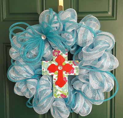 Blue And White Deco Mesh Wreath With Deco Flex Tubing Bow