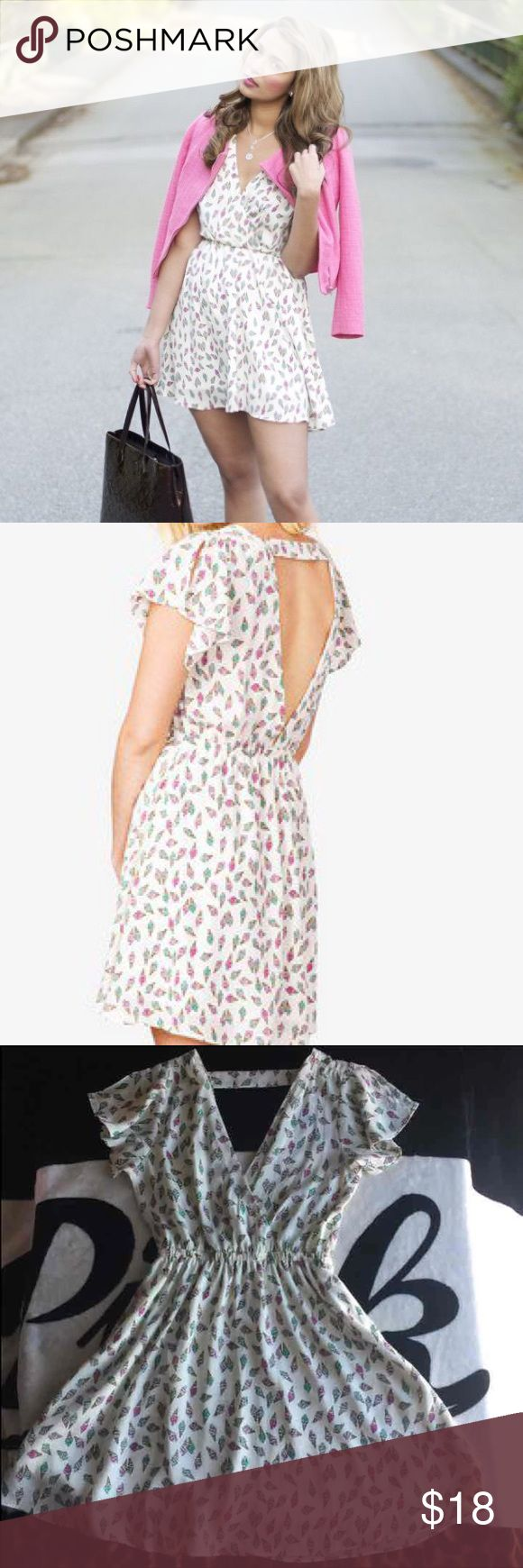 """Katy perry style ice cream party dress small Adorable cream colored dress with pink and mint green ice cream cones from forever 21. Cut out keyhole back, deep v neck. Split flutter sleeves. Elastic waistband. Skirt is lined. Size is small, waist is 24"""" unstretched, stretches up to 30"""". Could fit a larger bust. About 33"""" long from shoulder to hem. Only worn once for a couple hours. Still looks brand new. Forever 21 Dresses Mini"""