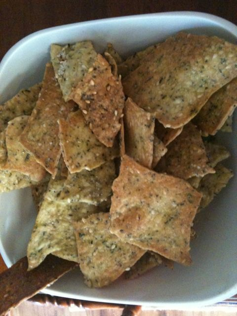Lavosh - 125g plain flour 40 g wholemeal flour 2 tablespoons of sesame seeds 2 table spoons of poppy seeds 1 tablespoon of chopped fresh herb (eg: oregano, rosemary) 1 tsp salt 125g water 60g olive oil