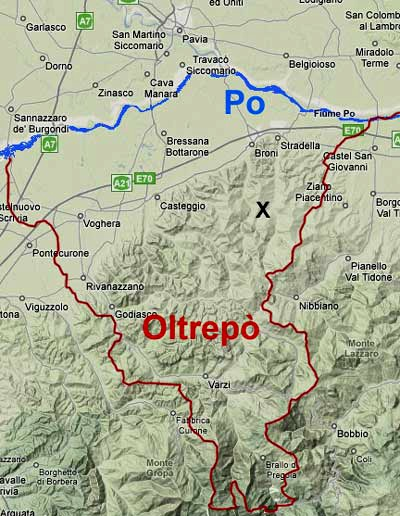 The Oltrepo Pavese region, south of the Po river in Lombardy