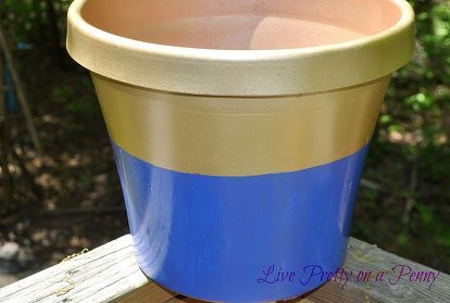 painted plastic flower pots, crafts, curb appeal, flowers, gardening, repurposing upcycling