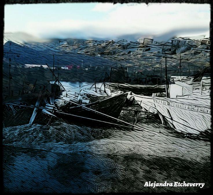 Título: Mañana fría de pesca - Arte Digital - San Luis, Argentina - Autora: Alejandra Etcheverry