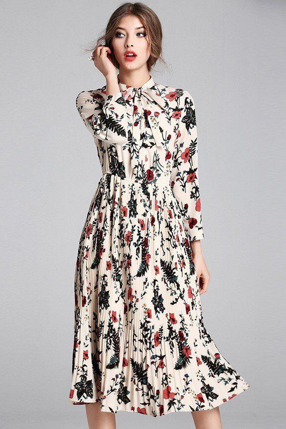 Bow Tie Neck Floral Pleat Midi Dress