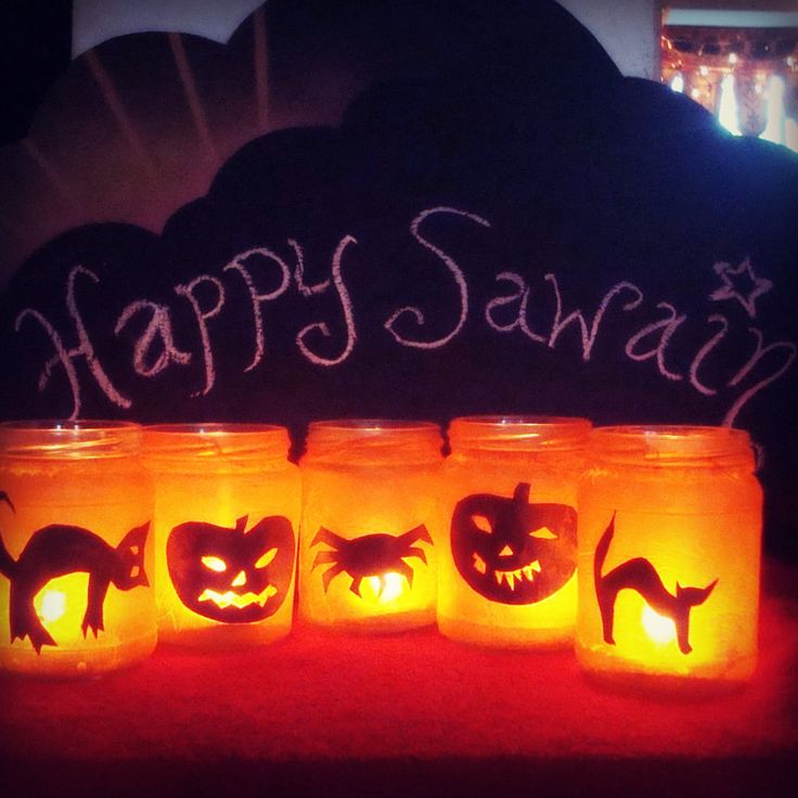 Halloween crafts- Sawain jam jar lanterns