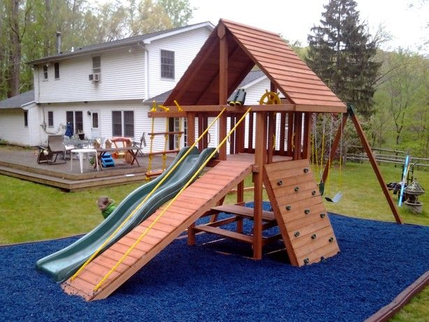 Dream Swing Set With Gang Plank Wood Roof And Picnic Table Nice Job Installations Backyard Playground Outdoor Play Structures Jungle Gym