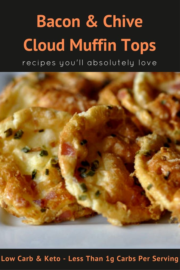 Savory Bacon & Chive Cloud Muffin Tops - Less than 1 gram of carbs, this is the perfect low carb keto treat! Makes 6 servings. Cloud bread extended! (Savory Muffin Dinners)