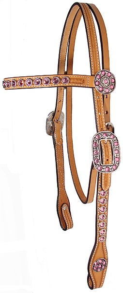Pink swarovski full crystal browband headstall frosty and me