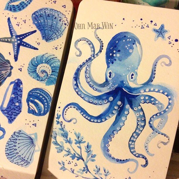 Just done this octopus as a placement or 'companion' piece to existing sketch of seashells I did this time last year. Another top tip from my consultation with @victoriajohnsondesign - I cannot recommend her insights enough! #ohnmarwin #sketchbook #sketchaday2017 #moleskine #winsorandnewton #artdaily2017 #pentelbrushpen #365daysofpaint #30minutesketch #ohnmarskillshare #calledtobecreative #Ohnmarwin #creativityfound #illustrationartist #becreative #getcreative #dscolor #abmlifeiscolorful…