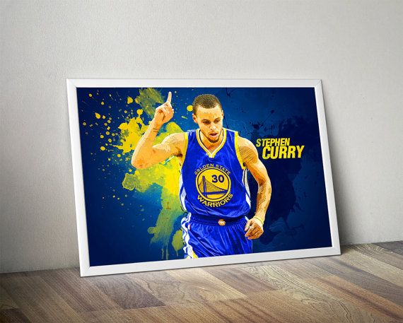 Stephen Curry Golden State Warriors Print NBA by wallart decorative decor home decor printable wall art design soccer design kid's room badroom gift ideas gift basketball champions league europan league nba finals Cloudprintshop