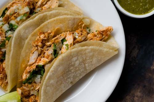 Chipotle Lime Chicken Tacos. 263 calories; 3g fat; 30 g carbohydrates; 32 g protein; 5 g fiber