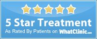Dental bleaching & Cosmetic dentistry: 5 Star Treatment Award From WhatClinic.com