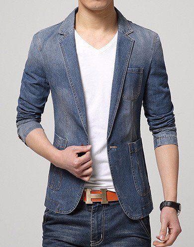 Men's Casual Fashion Denim Blazer http://www.99wtf.net/men/mens-accessories/tips-buy-luxury-watches/