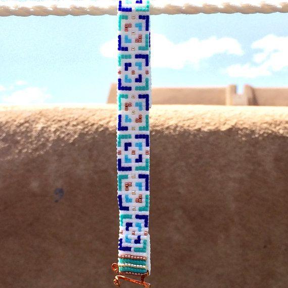 Got the Blues Bead Loom Bracelet Bohemian Boho by PuebloAndCo