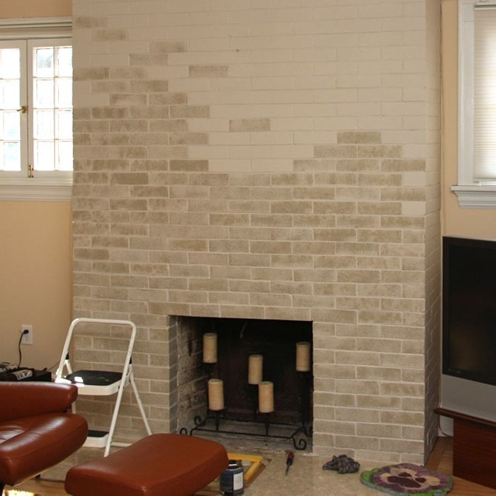Fireplace Design painting brick fireplace white : How To Update A Dated Brick Fireplace With Paint - this beginner's ...