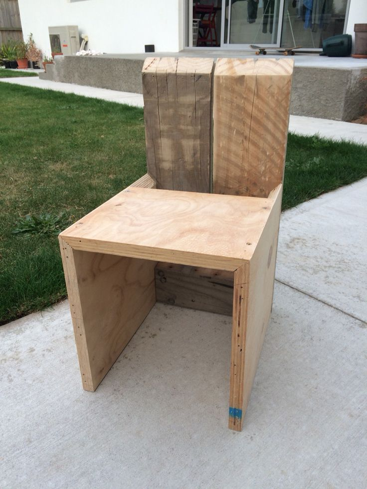 Upcycled chair made from ply scraps, pallets and recycled screws - this was made with no plans and without a single ruler