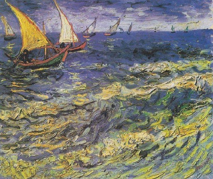 """A tenger örök dolog… az emberek, akik a vízen élnek tudnak valamit az élet mélyebb értelméből… tudják, a víz """"történik"""" tovább azután is, miután az ember pillanata már elmúlt… - (Vincent van Gogh - Fishing Boats on the Beach at Saintes-Maries, 1888)"""