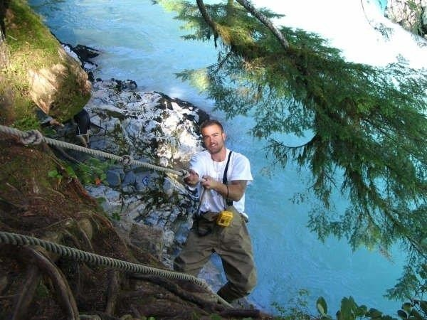 Climbing down into the natural hot springs in the upper Pitt canyon  http://chadsfishingcharters.com/rivers-and-lakes/