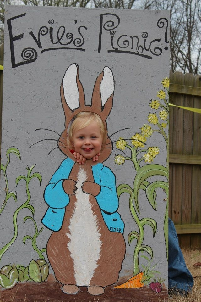 birthday girl with the Peter Rabbit face-in-hole board