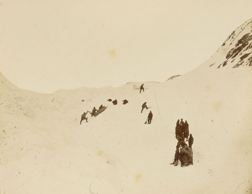 dog sledge cutting a road in the ice. george white, 1876.