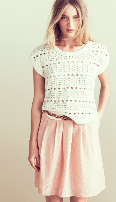 Madewell Punchcard Sweater and pale pink skirt...lovely!