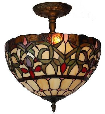 Tiffany Style Ceiling Lamp Fixture By Amora Lighting AM1081HL12 Free Shipping