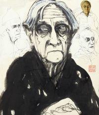 Brett Whiteley - Four views of Patrick White (ink, gouache, collage)