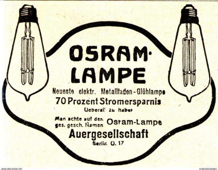 Original-Werbung / Anzeige 1907 - OSRAM LAMPEN / GLÜHBIRNEN / AUERGESELLSCHAFT - BERLIN - Ca. 75 X 60 Mm - Werbung