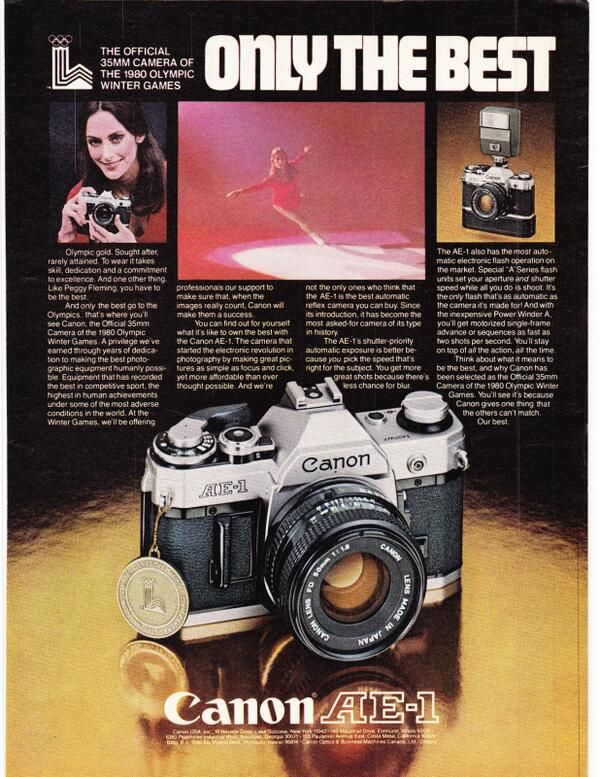 Olympic gold medal-winning American figure skater PEGGY FLEMING (in a 1979 magazine ad for the Canon AE-1)